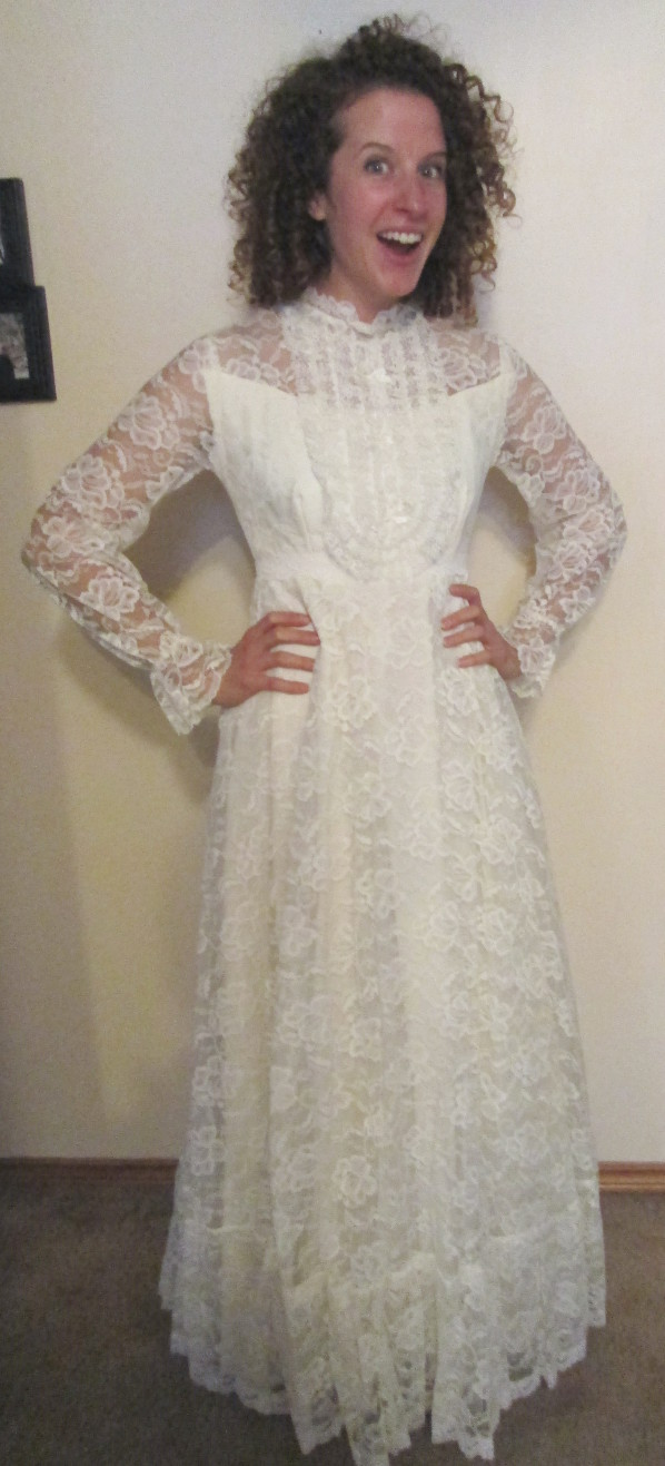 Mom got out her wedding dress, and made me try it on for kicks. Lace much? It was actually really fun. And scratchy.