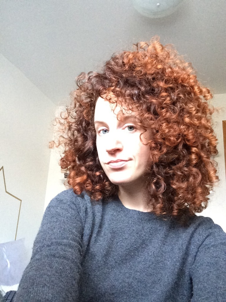 Before: My hair was getting long, but bigger, not curlier. And it was starting to be stringy...this was a wash day, freshly diffused, but the ends were pretty dry and unhappy.